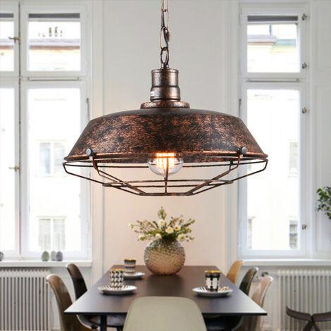 2pcs Industrial Ceiling Light Retro Antique Pendant Lamp Vintage Pendant Light Rust 260mm Iron Metal Chandelier E27