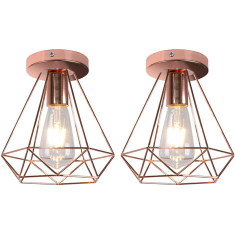 2pcs Industrial Ceiling Light Retro Flush Mount Diamond Cage Shade Ceiling Lamp Fixture, Rose Gold
