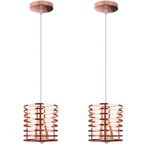 2pcs Industrial Hanging Ceiling Light Retro Pendant Light Rose Gold Metal Lampshade DIY Adjustable Chandelier Fixture for Indoor Decoration Loft Bar and Kitchen Cafe Bedroom