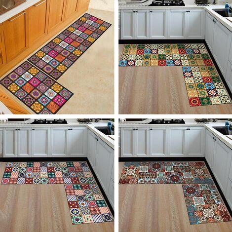2PCS Kitchen Floor Mat Non-slip Floor Mat Bathroom Absorbent Carpet Mat (Style A)