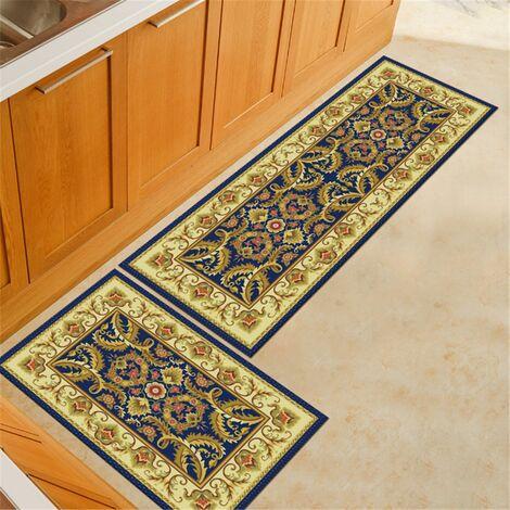2Pcs Kitchen Floor Mat Non-slip Mat Bathroom Home Interior Doormat Rugs D