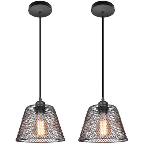 2PCS Lámpara Colgante Creativa Vintage, Colgante de Luz de Metal Negro, Luz Colgante Retro, Luz de Techo Industrial, Bombilla E27