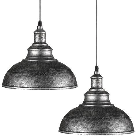 2pcs Lampara Colgante Forma de Semicírculo Diseño Simple Creativo Moderno Metal Luz Hemisferio Ø29cm Para Cocina Comedor Dormitorio Cafe Interior (Blanco)exterior gris plateado