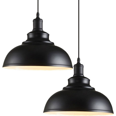 2pcs Lampara Colgante Forma de Semicírculo Diseño Simple Creativo Moderno Metal Luz Hemisferio Ø29cm Para Cocina Comedor Dormitorio Cafe Interior (Blanco)exterior negro
