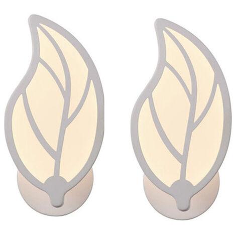 2pcs Lámpara de Pared Aplique LED 9W Simple Moderna forma de la hoja para Escalera Pasillo Salón (Luz blanca)Cálida