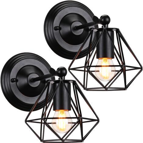 2pcs Lámpara de Pared de Jaula de Hierro de Metal Lámpara de Pared Industrial Antigua Lámpara de Araña de Diamantes para Dormitorio Café Oficina Negro