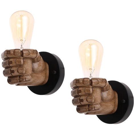 2pcs Lámpara de Pared Vintage Lámpara de Pared Con Forma de Puño Creativo Luz de Techo Antigua para Loft Bar Dormitorio Decoración de Cabecera Derecha
