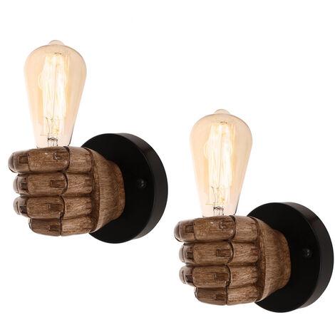 2pcs Lámpara de Pared Vintage Lámpara de Pared con Forma de Puño Creativo Luz de Techo Antigua para Loft Bar Dormitorio Decoración de Cabecera Izquierda