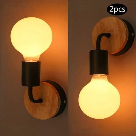2PCS Lampe Murale de Chevet eclairage Decor Applique Murale Noir