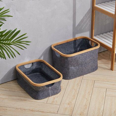 2Pcs Laundry Basket Bucket Storage Box Carrier Organizer