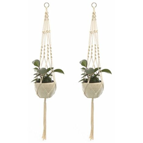 2Pcs Macrame Plant Hangers Indoor Outdoor Hanging Planter Basket Cotton Rope Hand-knitted flower pot net bag, style 2