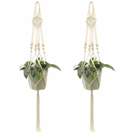 2Pcs Macrame Plant Hangers Indoor Outdoor Hanging Planter Basket Cotton Rope Hand-knitted flower pot net bag, style 3