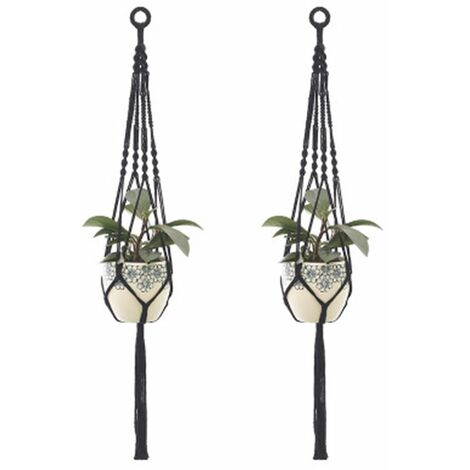 2Pcs Macrame Plant Hangers Indoor Outdoor Hanging Planter Basket Cotton Rope Hand-knitted flower pot net bag, style 4