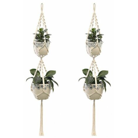 2Pcs Macrame Plant Hangers Indoor Outdoor Hanging Planter Basket Cotton Rope Hand-knitted flower pot net bag, style 5