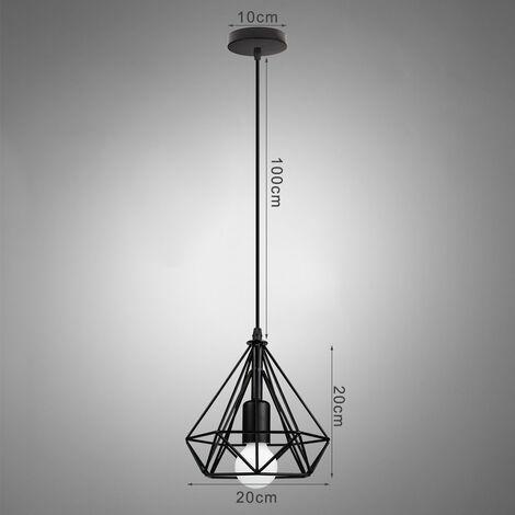 2pcs Metal Cage Chandelier Black Diamond Shape Hanging Light 20cm Retro Industrial Style Pendant Light Vintage Antique Ceiling Light