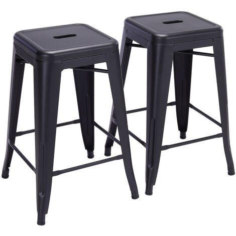 2pcs Metal Industrial Tolix Style Barstool Cafe Breakfast Chairs Counter Seats