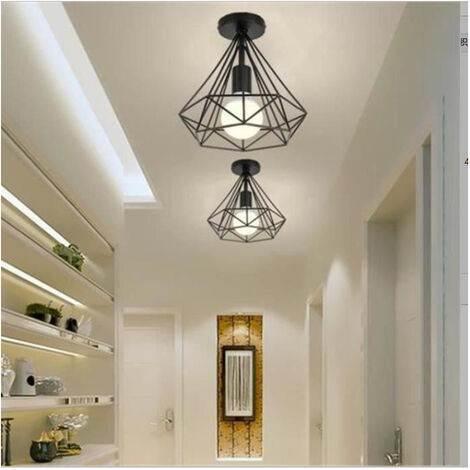 2pcs Metal Iron Cage Retro Chandelier Industrial Ceiling Light lamp, Used For Hallway, Entrance, Aisle, Porch, Bedroom