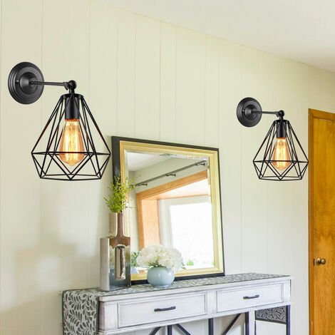 2pcs Metal Iron Cage Wall Light Black Retro Creative Wall Lamp Industrial Chandelier for Indoor Barn Restaurant Bedroom
