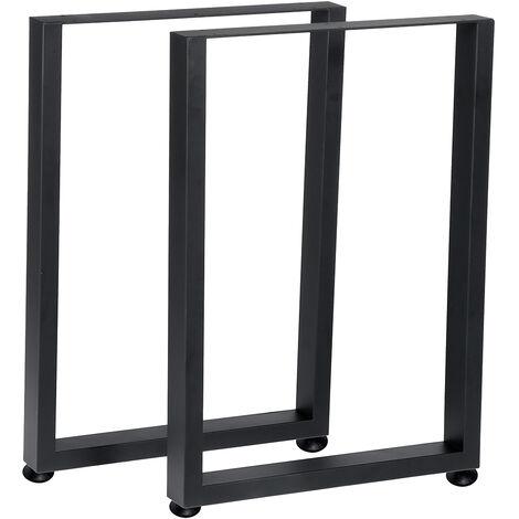 2PCS Metal Table Legs 71x50cm Black