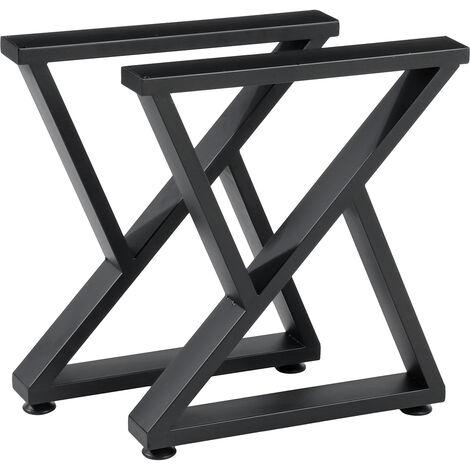 2Pcs Metal Table Legs Desk Stand Support Rack Table Feet 40cmx7cmx45cm Black