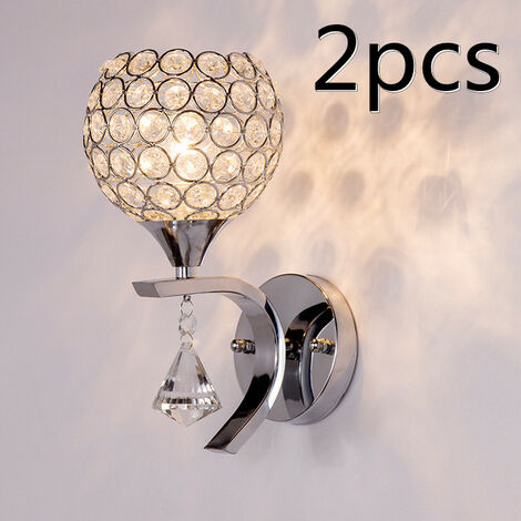 """main image of """"2PCS Modern Style Crystal Wall Lamp Fashionable Modern Wall Light for Aisle Bedroom Living Room Indoor Wall Light"""""""