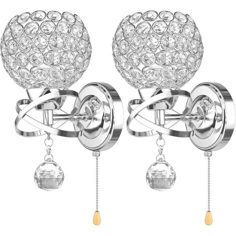 2pcs Modern Style Wall Lamp Crystal Wall Light Holder with Power Pull Switch Crystal Wall Sconce E14 Socket Silver