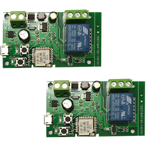 2PCS, Modulo de rele inalambrico con interruptor Wifi, DC5V 12V 24V 32V
