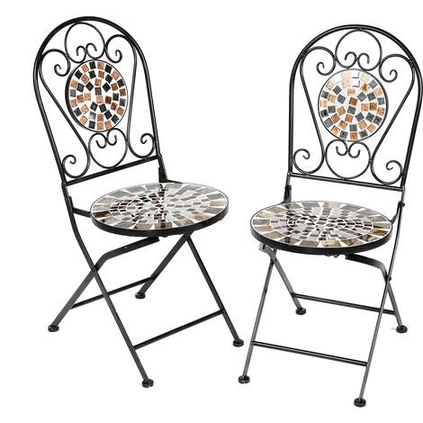 2PCS Mosaic Patio Folding Chair Furniture 35*36*91cm Black