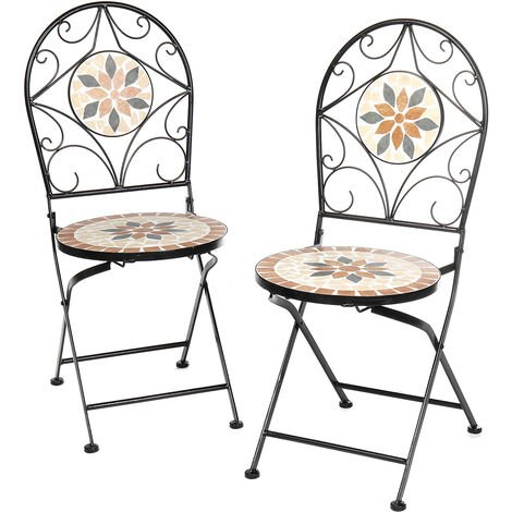 2PCS Mosaic Patio Folding Chair Furniture 35*36*91cm Orange