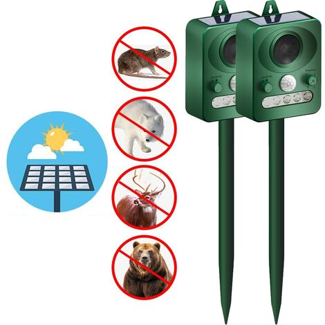 2pcs Outdoor Solar Ultrasonic Animal Repeller with Motion Sensor and Flash to Scare Away Rabbits, Squirrels, Foxes, Birds, Skunks, etc