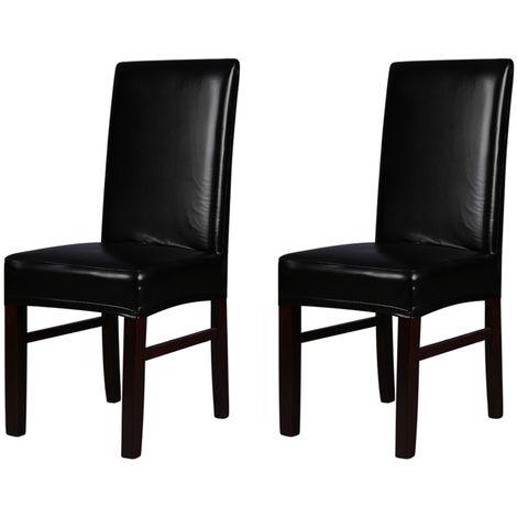 2pcs para sillas de una sola pieza de cuero de la PU carcasa trasera del asiento, negro