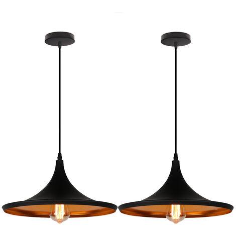 2pcs Pendant Light Ceiling Metal Shade, Creative Hat Look Hanging Lamp Chandelier, Black