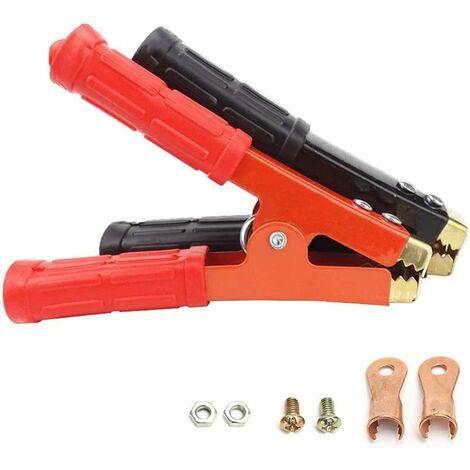 2pcs Pinces de Batterie 800A Pinces Crocodiles en Métal Isolée Battery Clips avec Poignée en Plastique pour Câbles de Démarrage