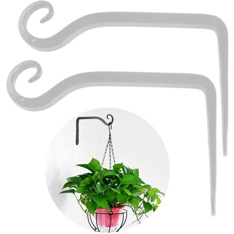 2pcs Plant holder flower hanging holder iron wall hook flower hanging wall holder hook for hanging planters birdhouses lantern wind chimes wall sconces, white