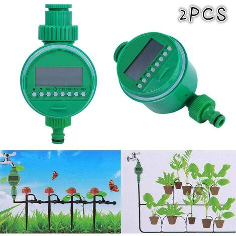 2pcs Programmateurs Arrosage Automatique Electrique Minuterie avec Affichage Numérique pour Jardin Pelouse (2pcs)