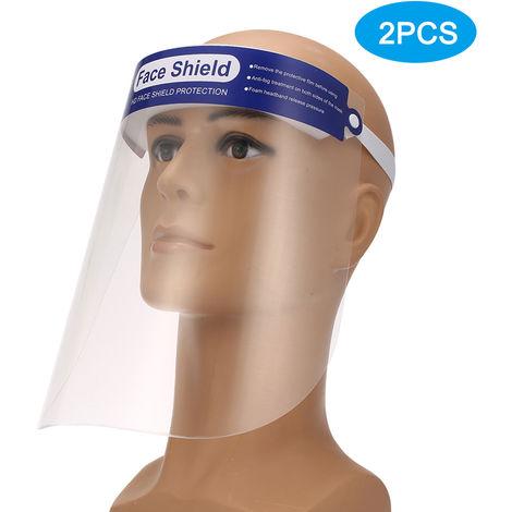 2PCS Protective Face Mask Anti-spitting Isolation Face Shield Fluid Resistant Full Face Mask Transparent Dust-proof Anti-fog Mask Visor