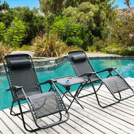 2pcs Reclining Garden Chair Zero Gravity Chairs with Table Beach Black