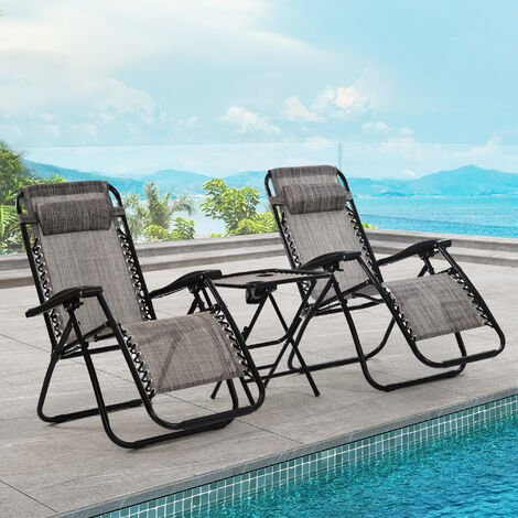 2pcs Reclining Garden Chair Zero Gravity Chairs with Table Beach Grey