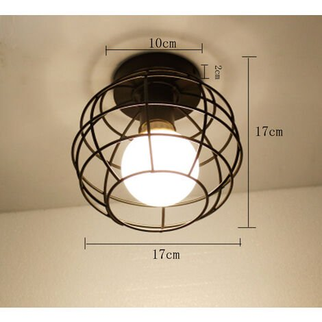2PCS Retro Ceiling Lamp Black Industrial Ceiling Light E27 Metal Cage Chandelier