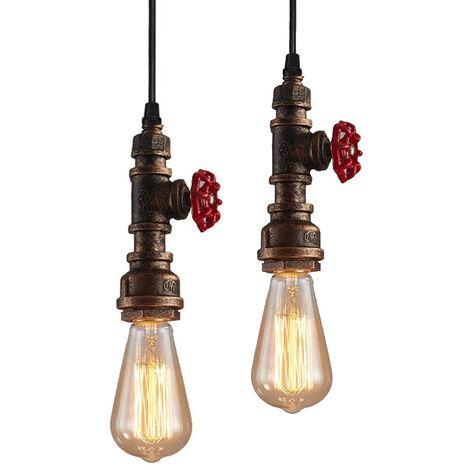 2pcs Retro Industrial Pendant Light Rust Metal Pendant Lamp Creative Steampunk Hanging Light Vintage Ceiling Light