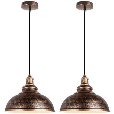 2pcs Retro Lámpara Colgante Vintage Industrial de 300mm (bronce)Lámpara de Techo de Hierro Iluminación E27 Decoración para Sala de estar Cocina Restaurante Bar