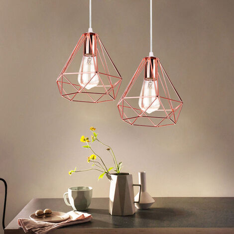 2PCS Retro Pendant Light 20cm Modern Ceiling Lamp Contemporary Chandelier Diamond Hanging Light Rose Gold Metal Iron Lamp Shade