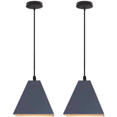 "main image of ""2PCS Retro Pendant Light Vintage Pendant Lamp Modern Hanging Light Industrial Blue Ceiling Light for Hall Hotel Restaurant Loft Kitchen Coffee Shop E27"""