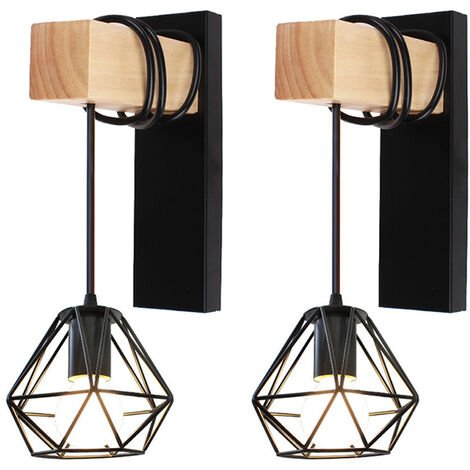 2pcs Retro Wall Light Industrial Black Cage Wall Lamp Sconce with Wooden Beam E27 Holder for Loft Bedroom