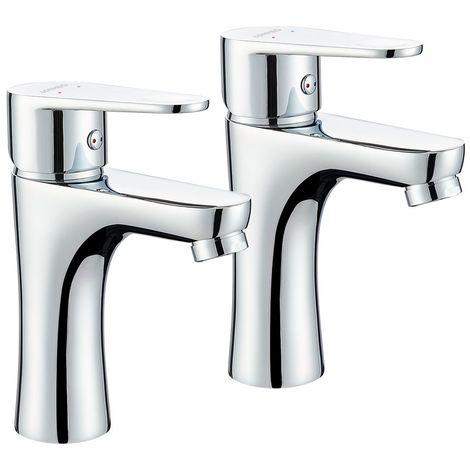 2PCS Robinet pour lavabo et vasque Mitigeur de lavabo en HPB59-1 laiton Chrome Salle de bain WC