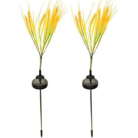 2pcs Solar Flower Lights Multi-Color Changing Grain Outdoor Courtyard Waterproof Decorative Lamp