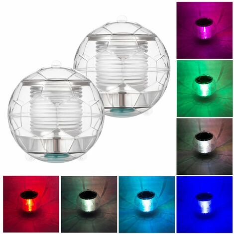 2pcs Solar Waterproof Pool Lights Floating Night Light with Color Changing for Swimming Pool Pond Fountain Garden Party Home Decor, football shape