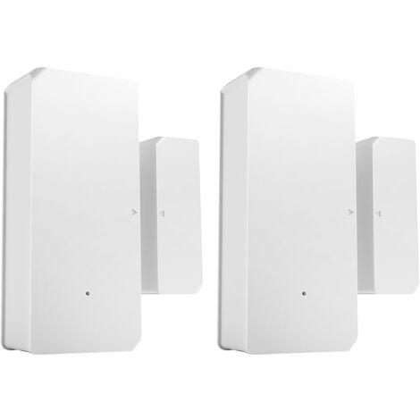 2PCS SONOFF DW2-RF-433MHZ Sensor Puerta Ventana Alarma Sensor RF 433Mhz Automatizacion inalambrica Alarma antirrobo Compatible con Puente RF para sistema de alarma de seguridad para el hogar inteligente, Blanco calido, 2