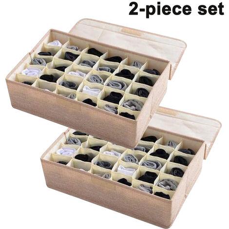 2pcs sous-vêtements chaussettes organisateur de rangement avec couvercles pliable placard tiroir diviseur 30 cellules, bac de rangement en coton lin pour chaussettes sous-vêtements cravates écharpes et lingerie en armoire, beige