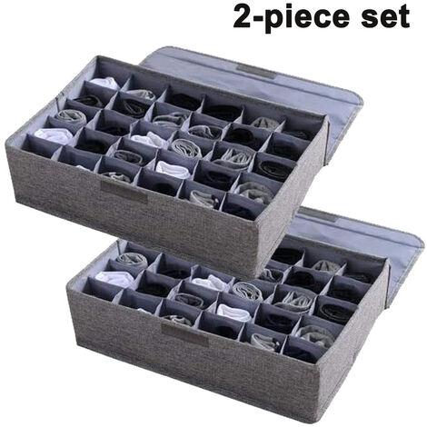 2pcs sous-vêtements chaussettes organisateur de rangement avec couvercles pliable placard tiroir diviseur 30 cellules, bac de rangement en lin coton pour chaussettes sous-vêtements cravates foulards et lingerie dans la garde-robe, gris